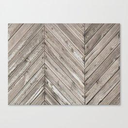 Herringbone Weathered Wood Texture Canvas Print