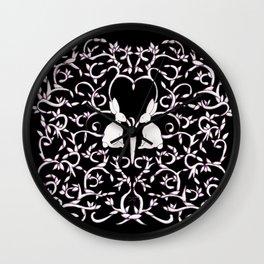 Black Rabbits Leaves Wall Clock