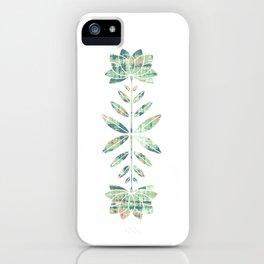Folkart Leaves and Flowers Design / Batik Tie Dye / green, brown, Corel iPhone Case