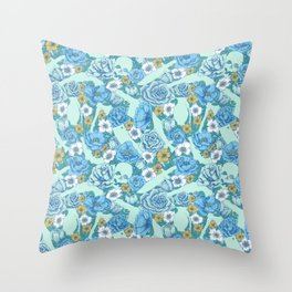 Weapon Floral-Blue Throw Pillow