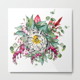 Gentille Peony, watercolor handpainted clipart, floral, flower, design, stylish, wedding, invitation Metal Print