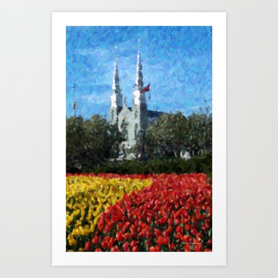 Cathedral & Tulips Art Print