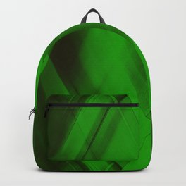 Ice triangular strokes of intersecting crisp lines with green triangles and stripes. Backpack