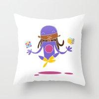 super hero Throw Pillows featuring Super Hero 3 by La Lanterne
