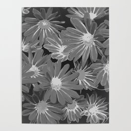 Gray Flowers Poster