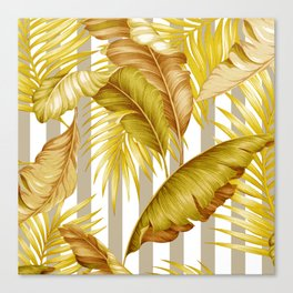 HAWAIIAN GARDEN TROPICAL LEAVES STRIPES Canvas Print