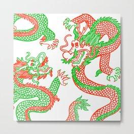 Battling Dragons Metal Print