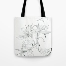 First stage of decay - black and white pencil lilies Tote Bag