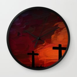 Religious Painting Artwork Cross Landscape Wall Clock