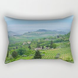 Beautiful spring landscape with hills in Tuscany countryside, Italy Rectangular Pillow