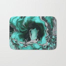 Teal and black Marble texture acrylic Liquid paint art Bath Mat
