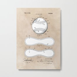patent Maynard Baseball 1927 Metal Print