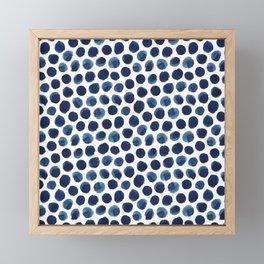 Large Indigo/Blue Watercolor Polka Dot Pattern Framed Mini Art Print
