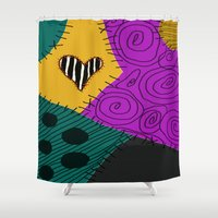 nightmare before christmas Shower Curtains featuring Sally - Nightmare Before Christmas by Lea Bostwick