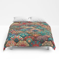 Vintage patchwork with floral mandala elements Comforters