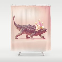Ankylosaurus with crown Shower Curtain
