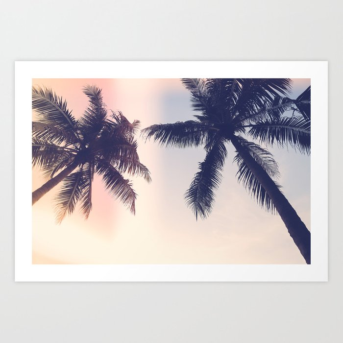 Palm trees Pastel Art Print