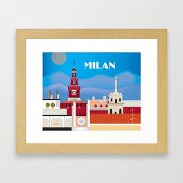 Milan, Italy - Skyline Illustration by Loose Petals Framed Art Print