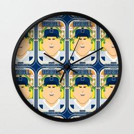 Baseball Blue Pinstripes - Deuce Crackerjack - Hazel version Wall Clock