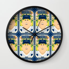 Baseball Blue Pinstripes - Deuce Crackerjack - Hazel version Wall Clock