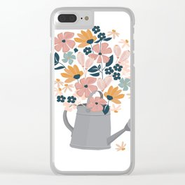 Celebrate Wedding Anniversary Birthday Watering Can Flower Bouquet Clear iPhone Case