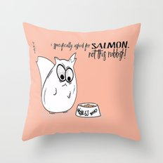 Noodles the Cat on food requests Throw Pillow