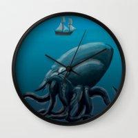 kraken Wall Clocks featuring Kraken by JayhIllustration