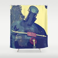 train Shower Curtains featuring train  by gzm_guvenc