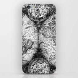 World Map Antique Vintage Black and White iPhone Skin