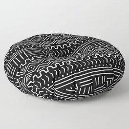 Mud Cloth on Black Floor Pillow
