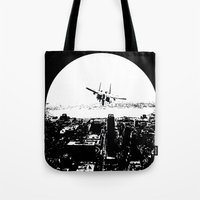 airplane Tote Bags featuring airplane by Anand Brai