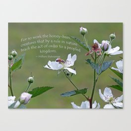 Honeybee on Blackberry Bloom with a William Shakespeare quote added. Canvas Print
