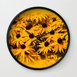 A Bed of Bloomin' Rudbeckias Wall Clock