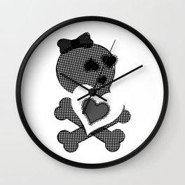 Skull Lace  - Crossbones Heart Illustration Wall Clock