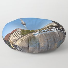 Autumnal Feeling at the River Spree in Berlin Floor Pillow