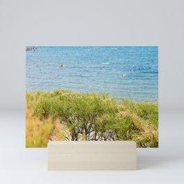 Green bushes and blue sea behind in Istria, Croatian coast Mini Art Print