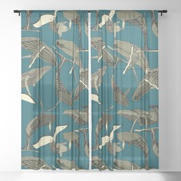 just whales blue Sheer Curtain