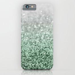 Silver Pastel Mint Green Ocean Glitter Glam #1 (Faux Glitter) #shiny #decor #art #society6 iPhone Case