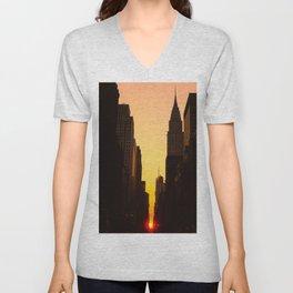 Manhattanhenge along 42nd Street NYC Unisex V-Neck