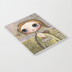 Doll big blue eyes with bee and snail Notebook