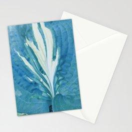 Single Blue Green Hosta Leaf Stationery Cards