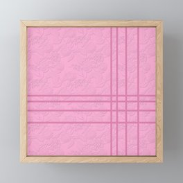 .Embossed roses on a pink background with decorative elements. Framed Mini Art Print