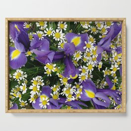 Ultra violet iris flowers and white chamomiles Serving Tray