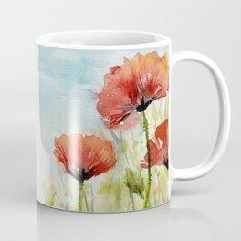 Red Flowers Watercolor Landscape Poppies Poppy Field Coffee Mug
