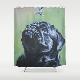 black PUG dog art portrait from an original painting by L.A.Shepard Shower Curtain