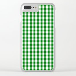 Christmas Green Gingham Check Clear iPhone Case