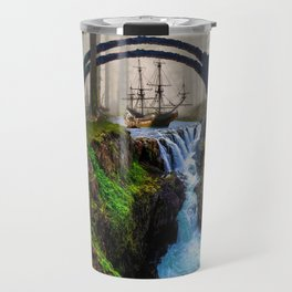 Fantasy Waterfall Landscape with Miniature Boat Travel Mug