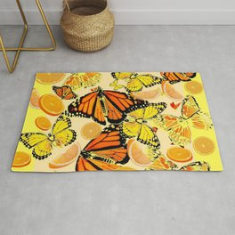 YELLOW MONARCH BUTTERFLY  & ORANGES MARMALADE Rug