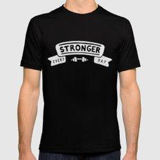 Stronger Every Day (dumbbell, black & white) Black Mens Fitted Tee MEDIUM
