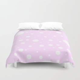 Mixed Polka Dots - White on Pastel Violet Duvet Cover